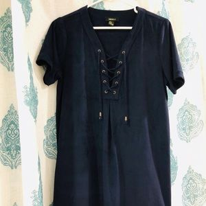 Faux Suede Blue Shift Dress Forever 21